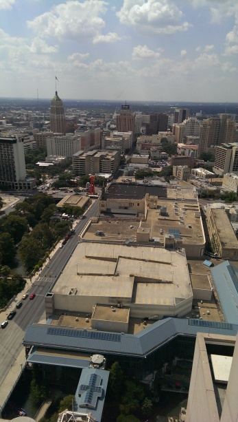 View of San Antonio from hotel hallway. I was on the 37th floor.